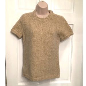 Kate Spade tan Metallic short sleeve sweater top